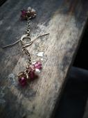 Pale Pink Smoky Topaz Freshwater Pearl Gold Toned French Wire Earrings