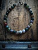 Caravasarai, Simple Mulit-hued Jasper Bead Bracelet
