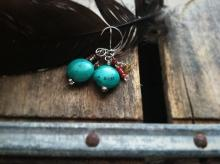 River Bed, Sterling Silver, Turquoise, Coral Seed Bead French Wire Earrings