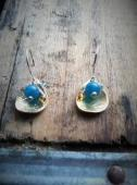 Lookfar, Genuine Blue Jade Stone and Czech Glass Bead, Sterling Silver French Wire Earrings